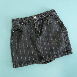 Pacsun Black White Stripe Denim Mini Skirt